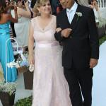 Ana Maria da Conceição Santos, mãe da noiva e Abimail Oliveira Bispo, pai do noivo